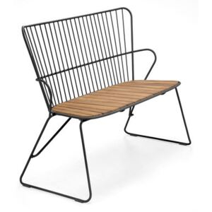 Paon Bench - / L 116 cm - Metal & bamboo by Houe Black/Natural wood