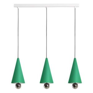 Cherry Line Pendant - / LED - L 90 cm / 3 Small lampshades by Petite Friture Green