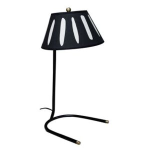 Charly Table lamp - / H 45 cm - Silkscreen printed cotton by Maison Sarah Lavoine Black