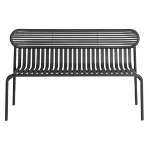 Week-End Bench with backrest - / Aluminium - L 121 cm by Petite Friture Black