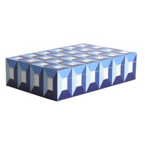 Sorrento Large Box - / Lacquered wood - 30 x 20 cm by Jonathan Adler Blue