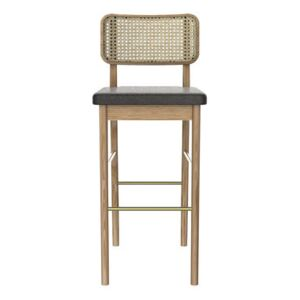 Cannage Bar stool - / H 65 cm - Fabric by RED Edition Natural wood
