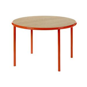 Wooden Round table - / Ø 120 cm - Oak & steel by valerie objects Red/Natural wood