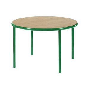 Wooden Round table - / Ø 120 cm - Oak & steel by valerie objects Green/Natural wood
