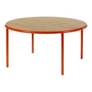 Wooden Round table - / Ø 150 cm - Oak & steel by valerie objects Red/Natural wood