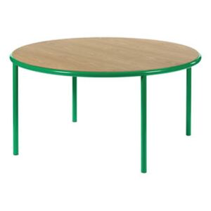 Wooden Round table - / Ø 150 cm - Oak & steel by valerie objects Green/Natural wood