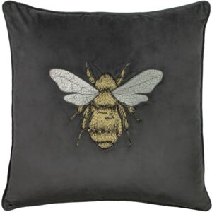 Bee Embroidered Velvet Cushion - Charcoal