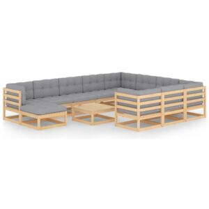 12 Piece Garden Lounge Set with Cushions Solid Pinewood