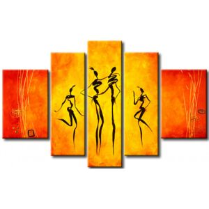 Canvas Print Silhouettes: Dancing figures