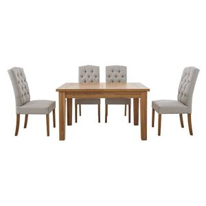 Furnitureland - California Solid Oak Rectangular Extending Table and 4 Button Back Upholstered Chairs