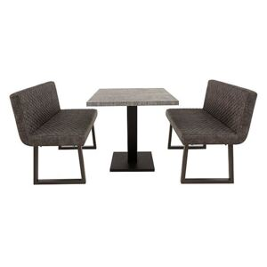 Rocket Dining Table and 2 Compact Earth Backrest Benches Dining Set
