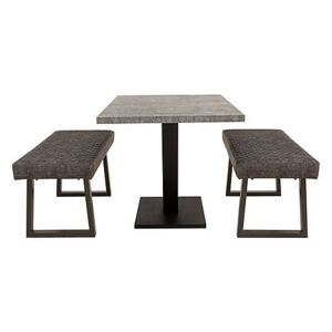 Rocket Dining Table and 2 Compact Earth Low Benches Dining Set