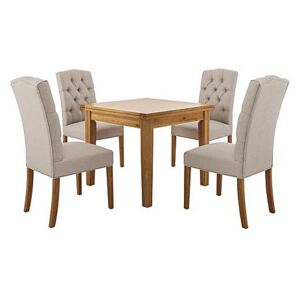 Furnitureland - California Solid Oak Flip Top Extending Table and 4 Button Back Upholstered Chairs