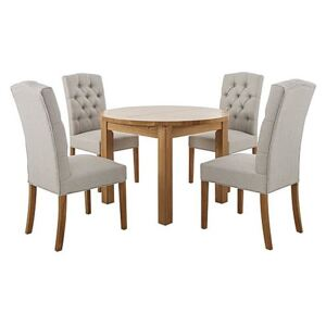 Furnitureland - California Solid Oak Round Extending Table and 4 Button Back Upholstered Chairs