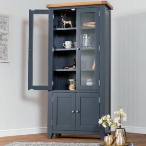 Hampshire Blue Painted Oak Glass Display Cabinet