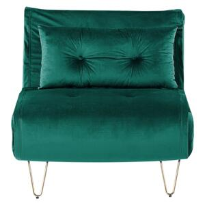Small Sofa Bed Dark Green Velvet 1 Seater Fold-Out Sleeper Armless With Cushion Metal Gold Legs Glamour Beliani