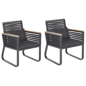 Set of 2 Garden Dining Chairs Black Metal Frame with Cushions Rope Design Industrial Modern Beliani