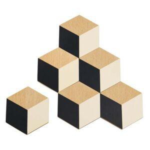 Table Tiles Glass coaster - Wood - Set of 6 by Areaware - Pop Corn Black/Beige/Natural wood
