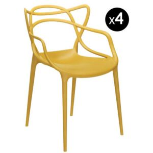 Masters Stackable armchair - Set of 4 by Kartell Yellow