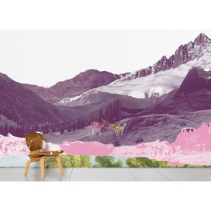 Mont Rose Panoramic Wallpaper - 8 panels by Domestic Pink/Grey