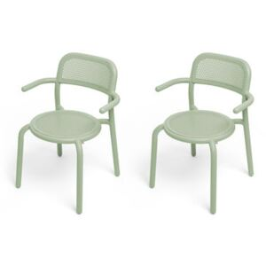 Toní Stackable armchair - / Set of 2 - Perforated aluminium by Fatboy Green