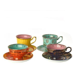 Grandpa Teacup - / Set of 4 - With saucers by Pols Potten Multicoloured