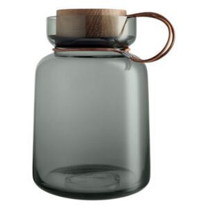 Silhouette Airtight jar - / 2L - Leather, wood & glass by Eva Solo Grey/Natural wood
