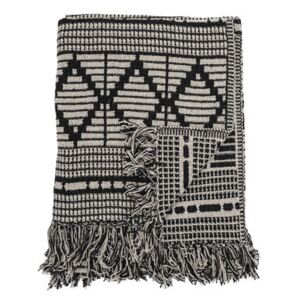 Plaid - / 160 x 130 cm - Recycled cotton by Bloomingville White/Black