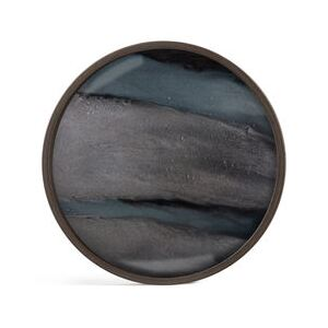 Graphite Organic Tray - / Ø 30 cm - Wood & hand-painted glass by Ethnicraft Blue