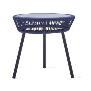 Loop Rope End table - / Hand-woven polyethylene cord by Vincent Sheppard Blue