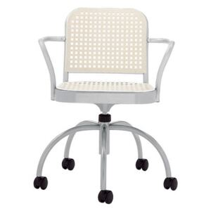 Silver Armchair on casters by De Padova White