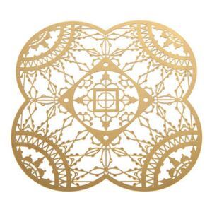 Petal Italic Lace Glass coaster - 10 x 10 cm - Set of 4 by Driade Kosmo Gold