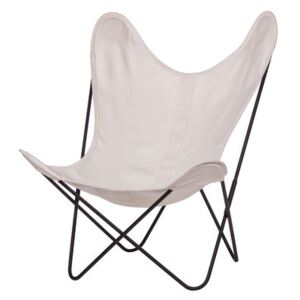 AA Butterfly Armchair - Cloth / Black structure by AA-New Design White/Beige