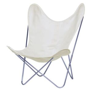 AA Butterfly INDOOR Armchair - Cloth / Chromed structure by AA-New Design White/Beige