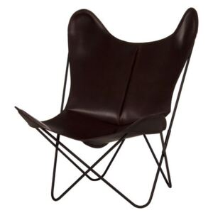 AA Butterfly Armchair - Leather / Black structure by AA-New Design Brown