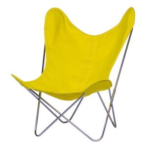 AA Butterfly INDOOR Armchair - Cloth / Chromed structure by AA-New Design Yellow