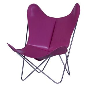 AA Butterfly Armchair - Leather / Chromed structure by AA-New Design Pink