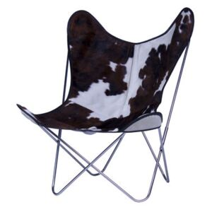 AA Butterfly Armchair - Leather / Chromed structure by AA-New Design White/Brown