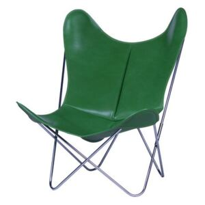 AA Butterfly Armchair - Leather / Chromed structure by AA-New Design Green