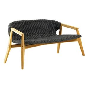 Knit Straight sofa - / L 140 cm - Synthetic rope by Ethimo Grey
