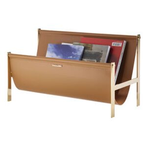 Magazine holder - / Leather & Metal - L 58 cm by Opinion Ciatti Brown/Gold