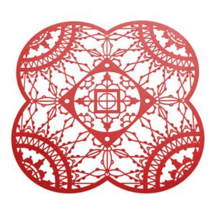 Petal Italic Lace Glass coaster - 10 x 10 cm - Set of 4 by Driade Kosmo Red