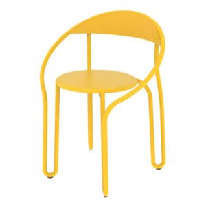 Huggy Bistro Chair Stackable armchair - / Aluminium by Maiori Yellow
