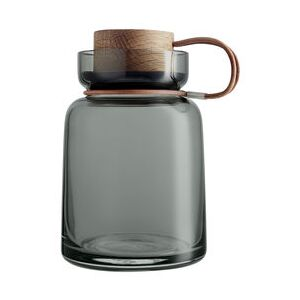 Silhouette Airtight jar - / 0.7L - Leather, wood & glass by Eva Solo Grey/Natural wood
