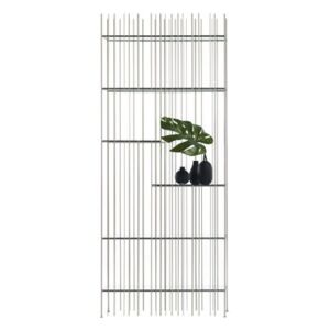 Metrica A Bookcase - / 78 x 190 cm - Steel & glass by Mogg Silver
