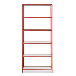 Haze Bookcase - / L 80 x H 185 cm - Fluted glass by Ferm Living Red
