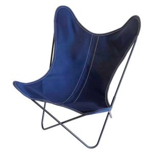 AA Butterfly OUTDOOR Armchair - / Cotton - Black structure by AA-New Design Blue