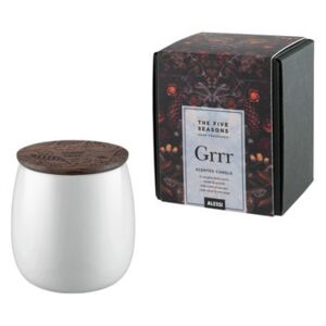 The Five Seasons Scented candle - / Porcelain - H 9 cm by Alessi White/Natural wood