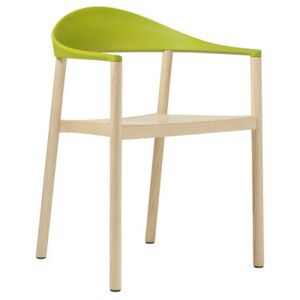 Monza Stackable armchair - Plastic & wood by Plank Green/Natural wood
