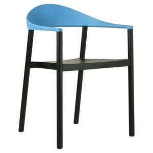 Monza Stackable armchair - Plastic & painted wood by Plank Blue/Black